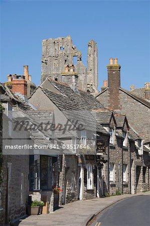 Corfe village and castle, Dorset, England, United Kingdom, Europe