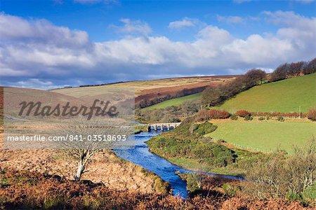 Landacre pont enjambant le Barle River près de Withypool, Parc National d'Exmoor, Somerset, Angleterre, Royaume-Uni, Europe