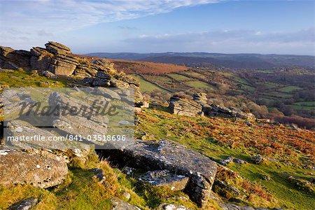 Sunlit granite outcrop at Hound Tor, Dartmoor National Park, Devon, England, United Kingdom, Europe