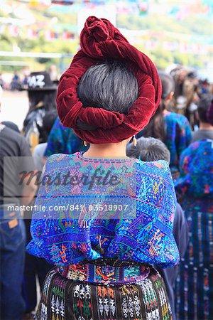 Mayan woman in traditional dress, Santa Catarina Palopo, Santa Catarina, Lake Atitlan, Guatemala, Central America