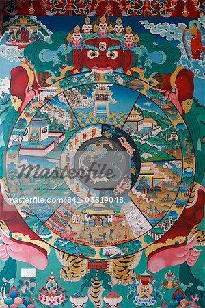 Wheel of life (wheel of Samsara), Kopan monastery, Bhaktapur, Nepal, Asia