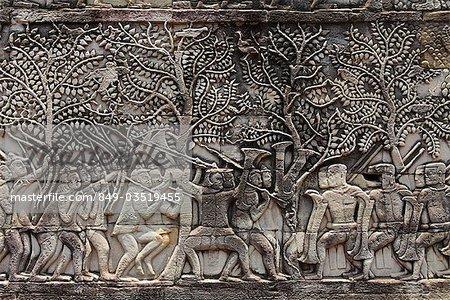 sculptures en pierre sur le mur d'Angkor Vat, Camobia