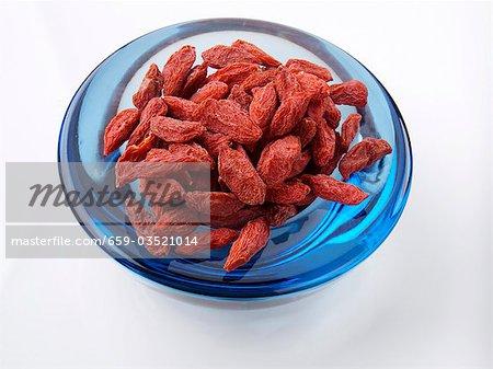Blue Bowl of Goji Berries