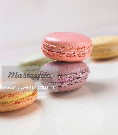 Farbige Macarons Kleine Franzosische Kuchen Stockbilder