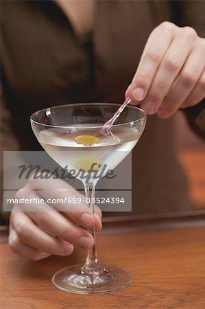 Femme harpon d'olive en verre à Martini