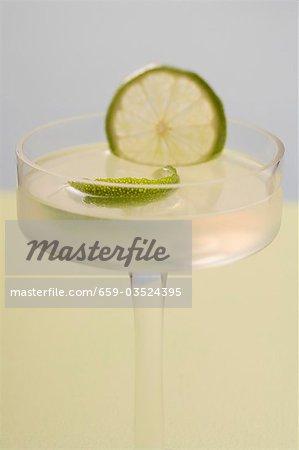 Caipirinha with lime in glass