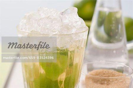 Caipirinha au citron vert et de sucre de canne