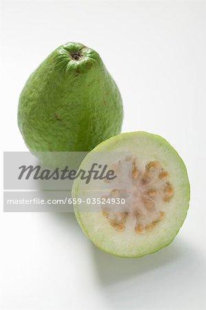 Whole guava and half a guava