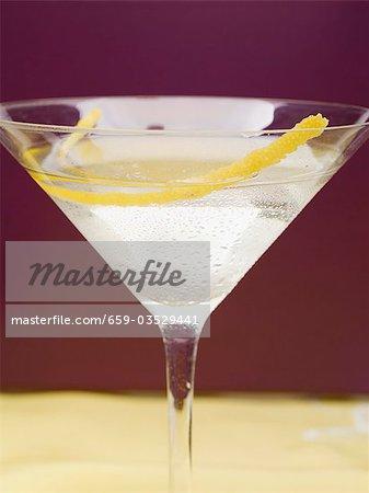 Martini with lemon zest