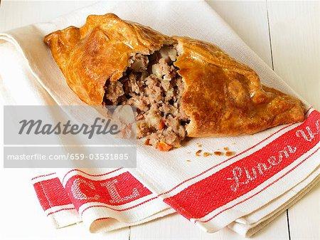 Cornish pasty, défoncé sur un torchon