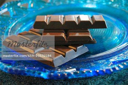 Broken bar of chocolate on blue glass plate