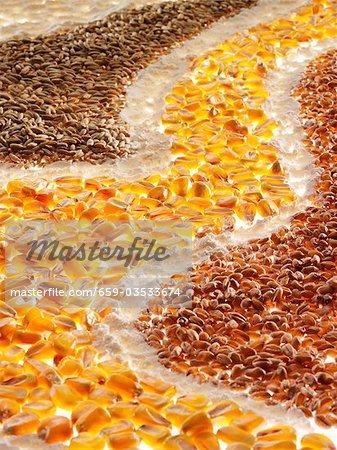 Corn kernels, flour and cereals forming a 'road'