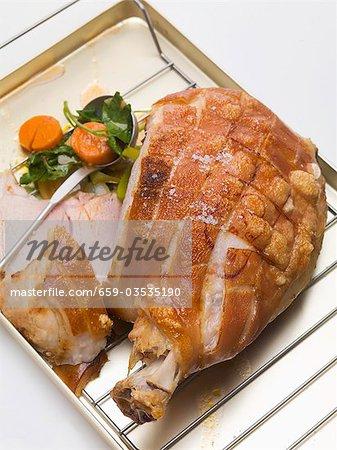 Roast pork with crackling, with vegetables