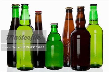 Various types of beer in bottles