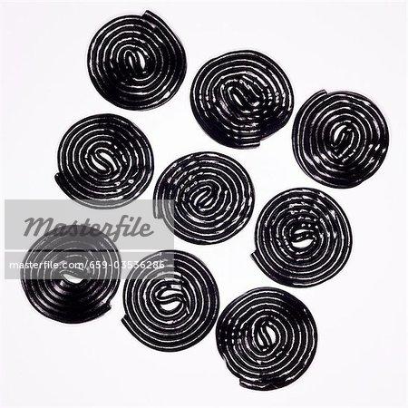 Nine liquorice wheels
