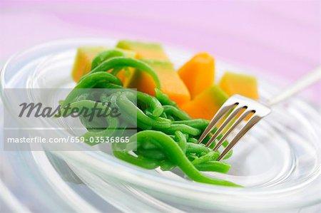 Melon avec gelée de riz vert