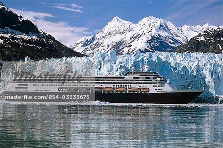 Holland America cruiseship *Zaandam* in front of Margerie Glacier, Glacier Bay National Park SE Alaska