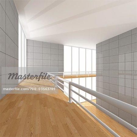 Illustration of Empty Hallway in House
