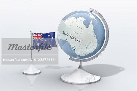 Globe montre Australie agrandi avec drapeau