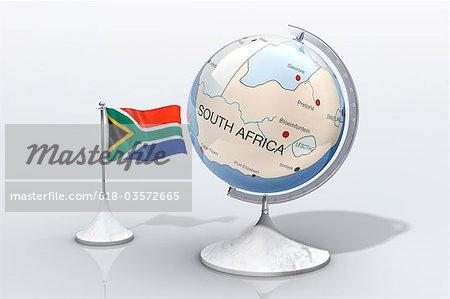 Globe montre closeup Afrique du Sud avec drapeau