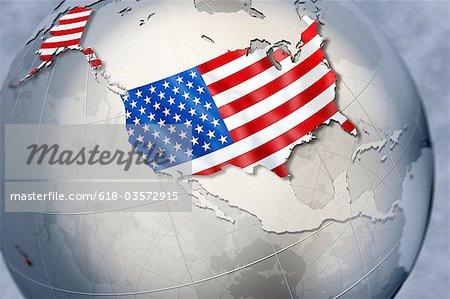 Forme et enseigne des USA sur un globe