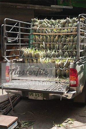 Truckload of Pineapple at Pak Khlong Talat Central Market, Bangkok, Thailand