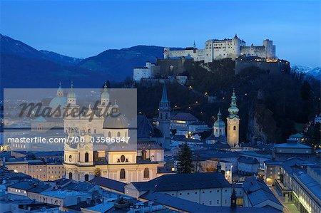 Château de Hohensalzburg et City, Salzbourg, Autriche