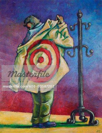 Illustration de l'homme avec une cible sur le dos de sa veste