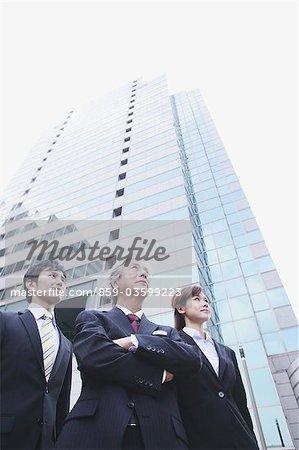 Businessmen Looking Up