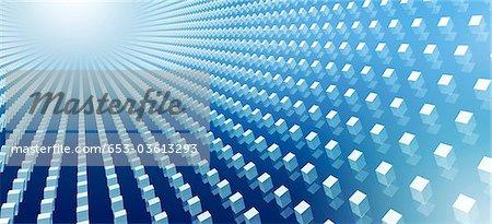 Abstrakte Cubes auf blau