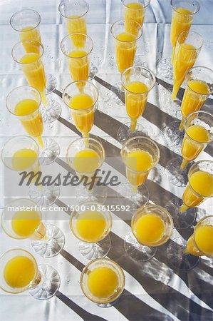 Mimosen in Kunststoff Champagner Flöten