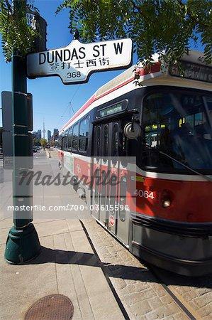 Tramway sur l'Avenue Spadina et Dundas Street West, Toronto, Ontario, Canada