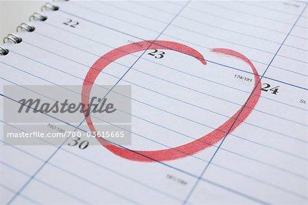Calendrier avec Date entourée en rouge