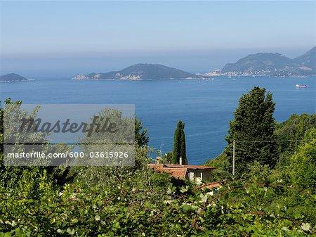 Lac et îles, La Spezia, Province de La Spezia, Ligurie, Italie