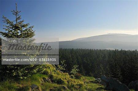 Brocken Mountain View du sommet Achtermann, Parc National du Harz, Basse-Saxe, Allemagne
