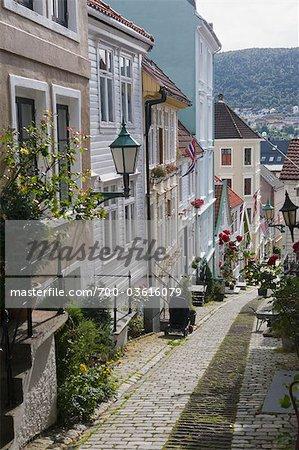 Straße in Bergen, Hordaland, Norwegen