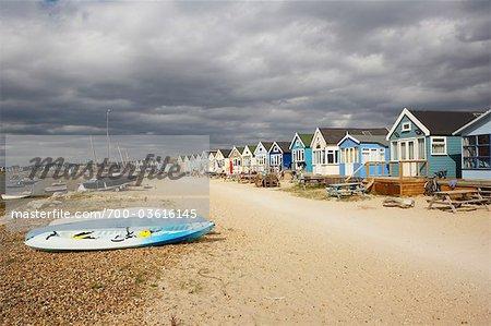 Huts at Hengistbury Head Beach, Near Bournemouth, Dorset, England