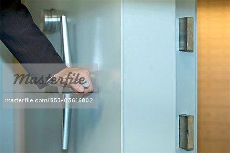 Man opening vault, close-up