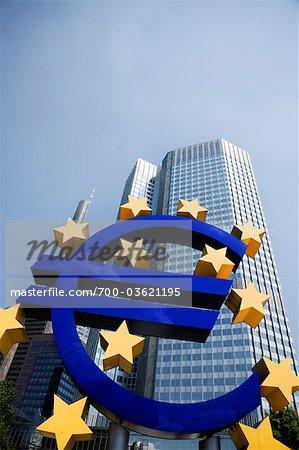 Euro Symbol and European Central Bank Headquarters, Frankfurt, Hesse, Germany