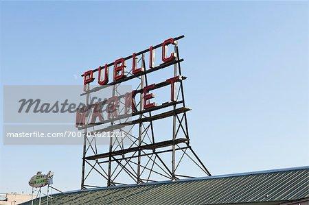 Signe de marché de Pike Place à Seattle, Washington, Etats-Unis