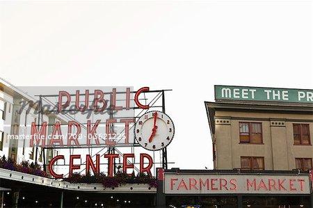 Public Market Center signe, Pike Place Market, Seattle, Washington, USA
