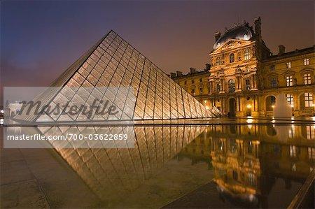 IM Pei Pyramid at the Louvre, 1st Arrondissement, Paris, Ile-de-France, France