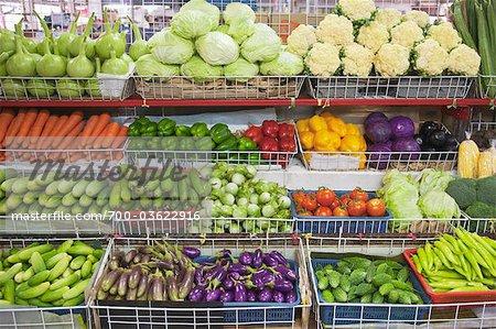 Gemüse Anzeige im Lebensmittelgeschäft, Bangkok, Thailand