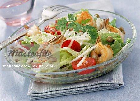 Salade de crevettes et de lentilles
