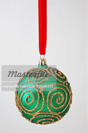 Green gold Christmas ornament