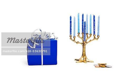 Gelt, de présent et de Hanukkah Memorah