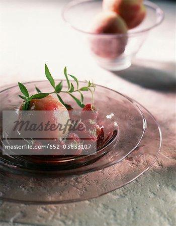 Peaches and raspberries stewed with verbana