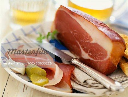 Plate of raw ham