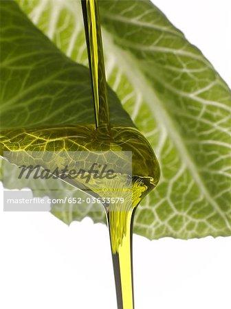 Olivenöl ablegen auf einem Salatblatt