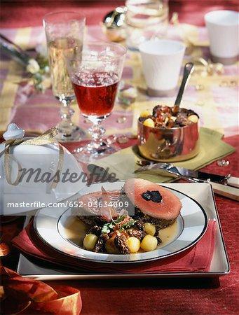 Roast doe with morels,truffles and melon balls